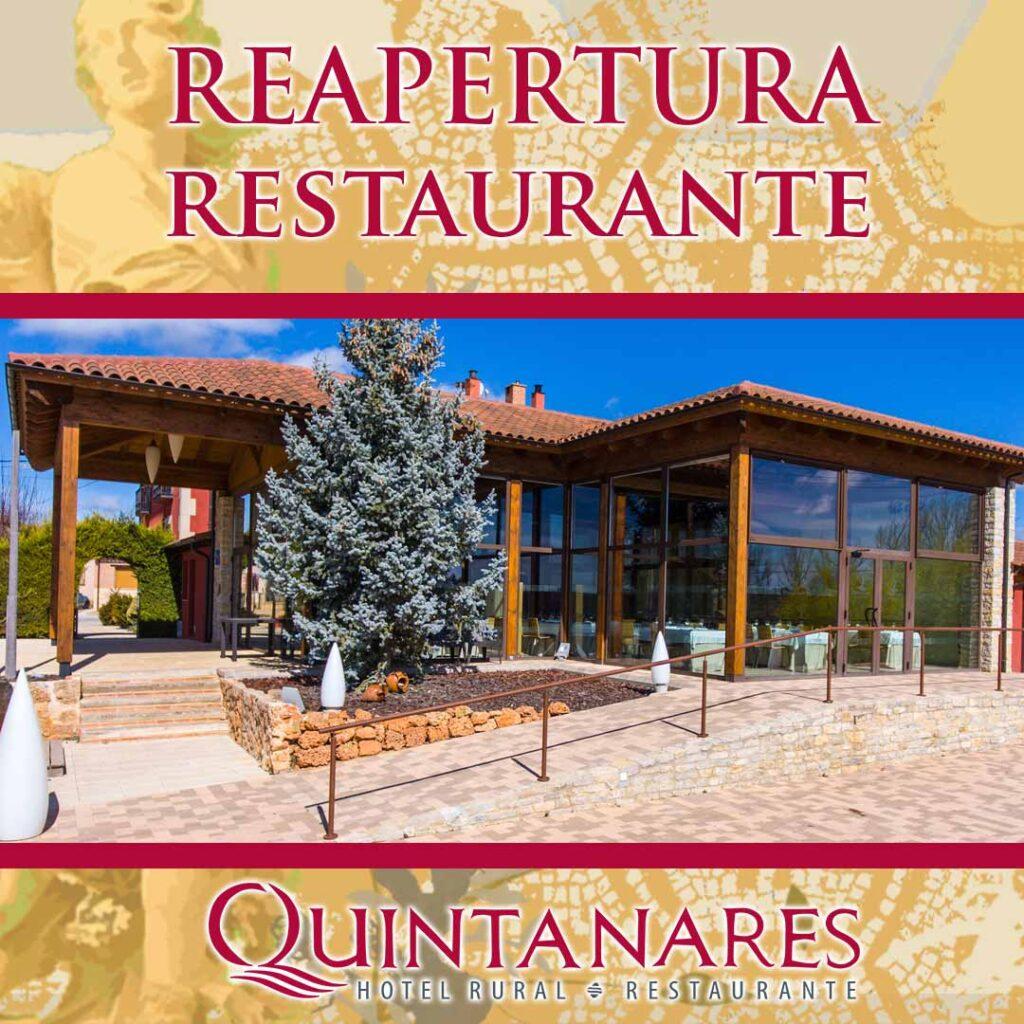Reapertura del Restaurante Quintanares en Rioseco de Soria