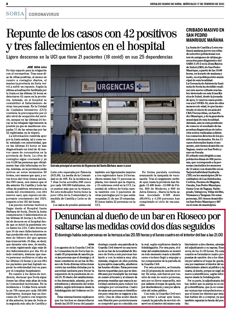 Denuncias en Rioseco de Soria periodico